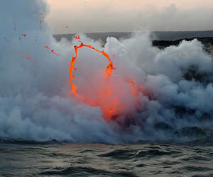 fire, lava, and ocean image