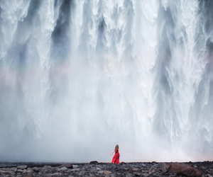 waterfall, photography, and red image