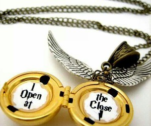 harry potter, golden snitch, and necklace image