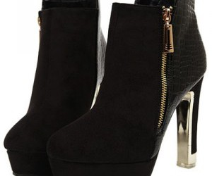 black, booties, and woman shoes image