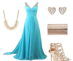 silver heels, blue prom dress, and blue long dress image