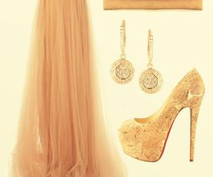 gold heels, gold accesories, and gold box clutch image