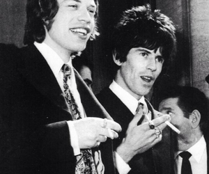 black and white, Keith Richards, and laughing image