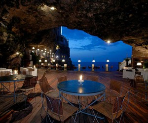 restaurant, italy, and cave image