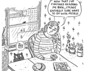 book, cat, and comic image