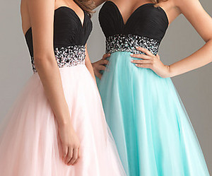 strapless dress, strapless prom dress, and strapless pink prom dress image