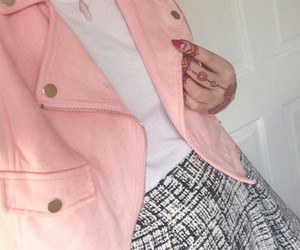 red nails, henna tattoos, and pink jackets image
