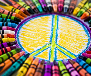 peace, crayon, and colorful image