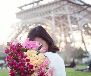 paris, flowers, and girl image
