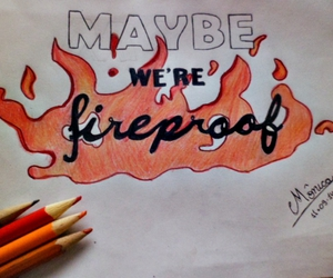 fireproof, lyric drawing, and one direction image