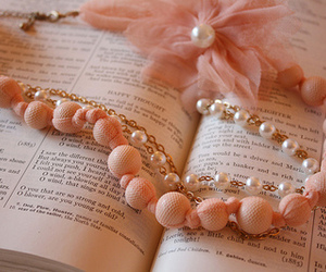 book, pink, and pearls image