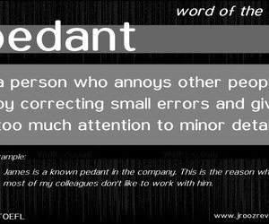 vocabulary, pedant, and word of the day image