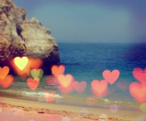 beach, heart, and hearts image