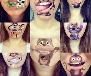 girl, lips, and monkey image