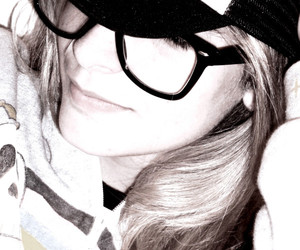 Avril, black and white, and blonde image