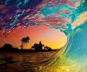 colorful, palmtree, and sea image