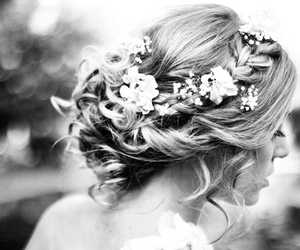 hair, flowers, and wedding image