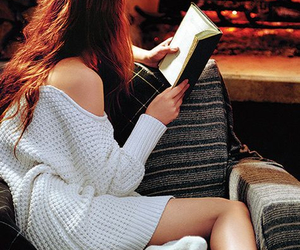 book, girl, and fire image