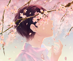 anime, evangelion, and flowers image