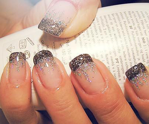 glitter nails, french tip nails, and french tip image