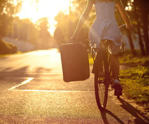 girl, bike, and sun image