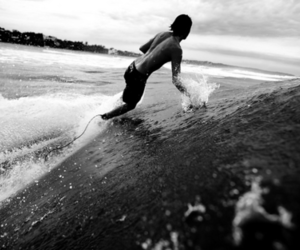 surf, black and white, and guy image