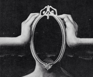 mirror, black and white, and creepy image