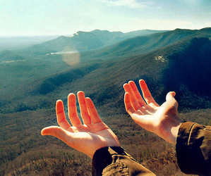 hands, nature, and sun image