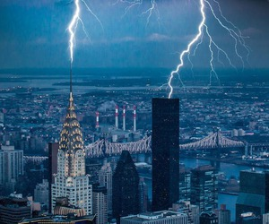 city, storm, and lightning image