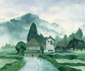 landscape, watercolor, and art image