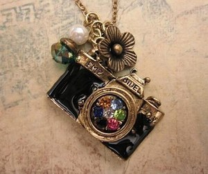 necklace, camera, and vintage image