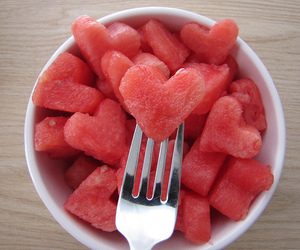 food, heart, and watermelon image