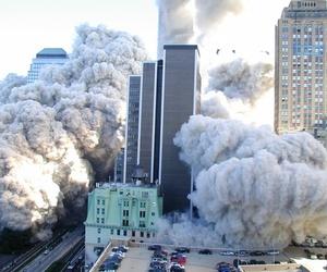 city, smoke, and explosion image