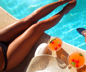 summer, legs, and pool image