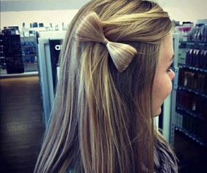 blonde, straight hair, and bow image