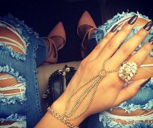 bracelet, nails, and jeans image