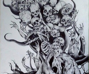 black&white, tree, and skull image