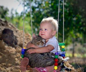 cat, baby, and kids image