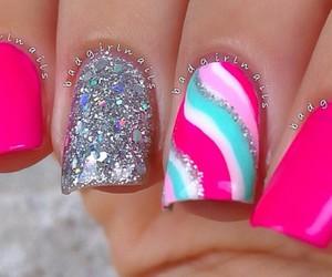 nails, silver, and nail art image