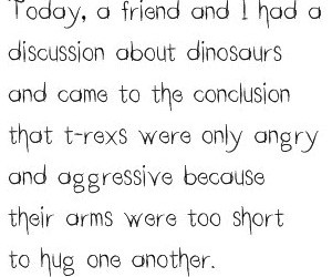 dinosaur, hug, and quote image