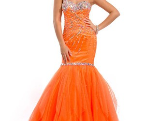 mermaid prom dresses, one shoulder prom dresses, and orange prom dresses image