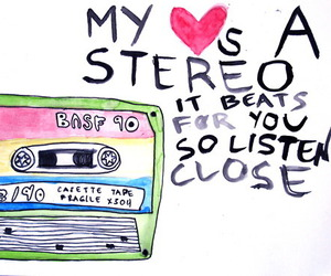 music, stereo, and heart image