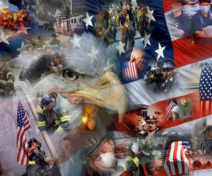 american flag, firefighters, and usa image