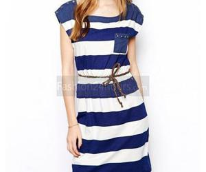 belt, blue and white, and dresses image