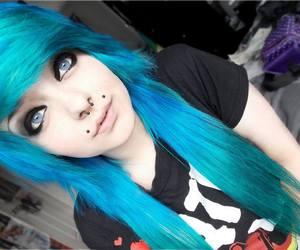 alt girl, blue hair, and scene image
