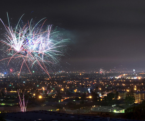 fireworks and city image