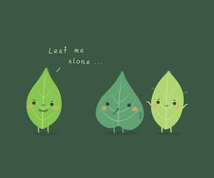 alone, leaf, and draws image