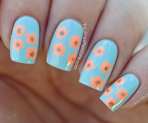 flowers, nails, and blue image