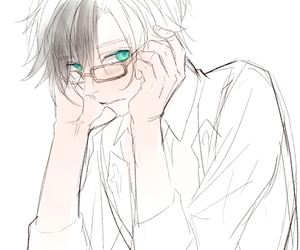 <3, glasses, and green eyes image