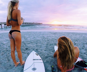 sunset, surf board, and surfer girl image